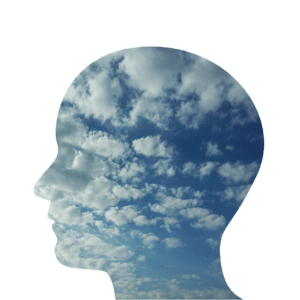 transparent head with clouds in it