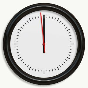 black and white analog clock