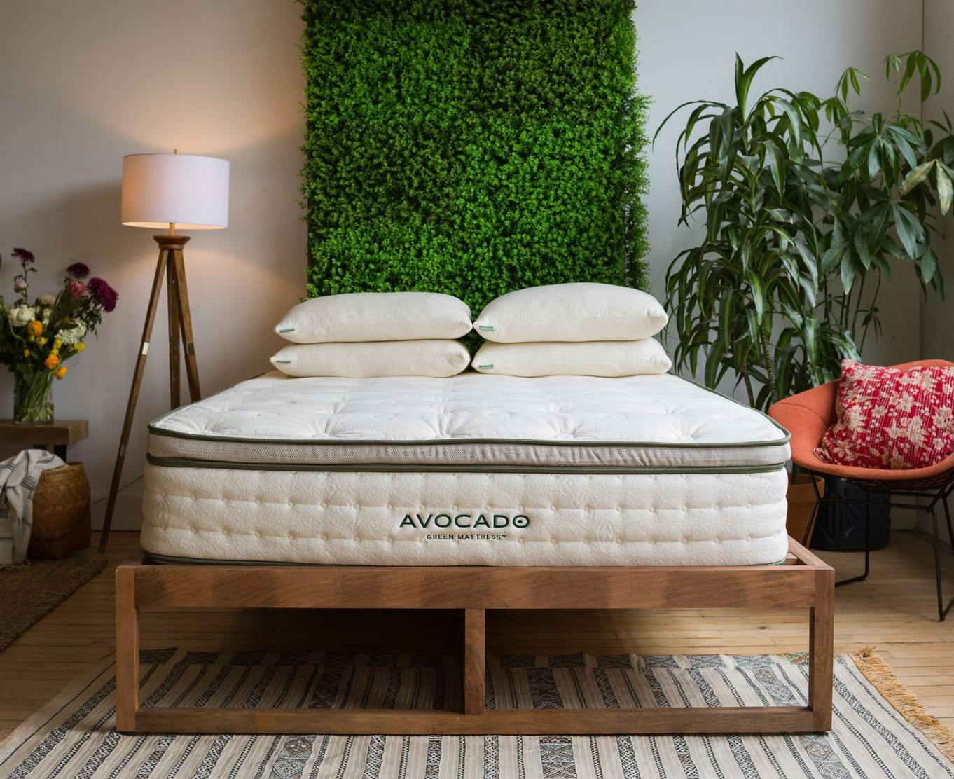 avocado mattress in a staged room