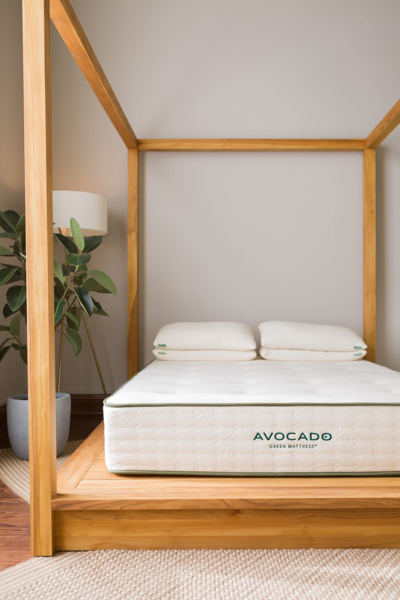 blank avocado mattress on wooden bed frame