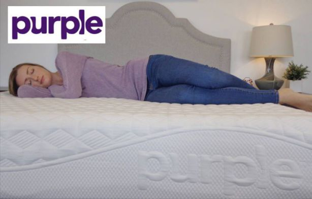 laying down on a purple