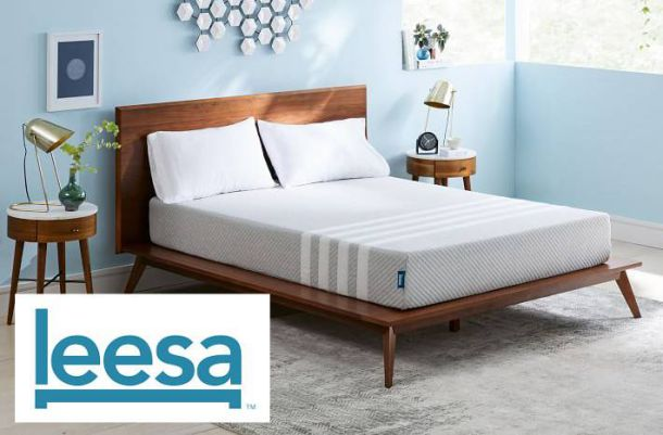 leesa mattress in staged room