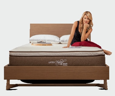 woman sitting on Latex bed