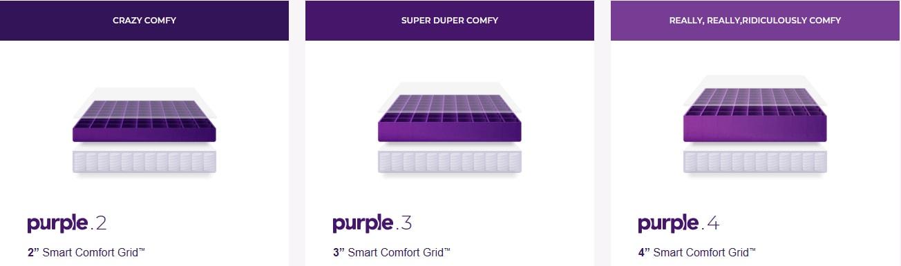 purple hybrid comfort options