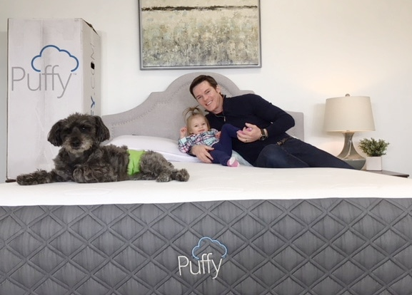 family on a puffy mattress