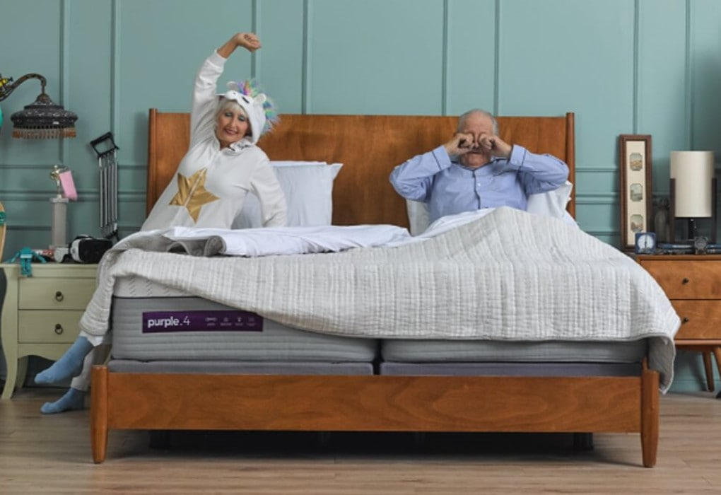 Old couple on a Purple 4 mattress