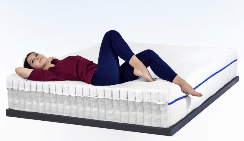 laying down on mattress