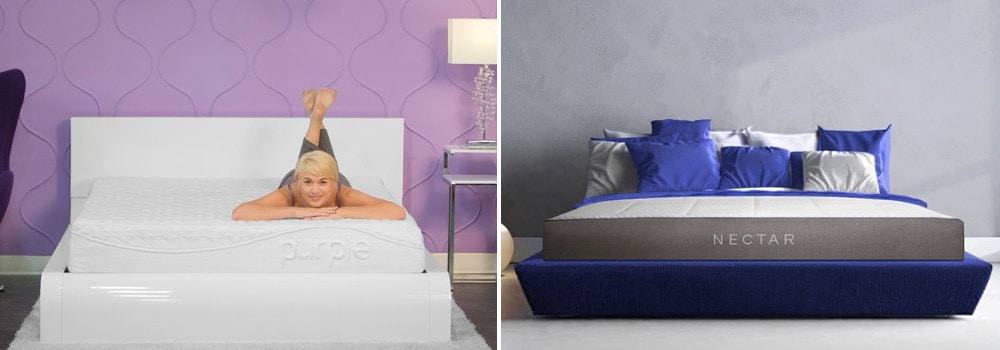 purple and nectar mattress side by side