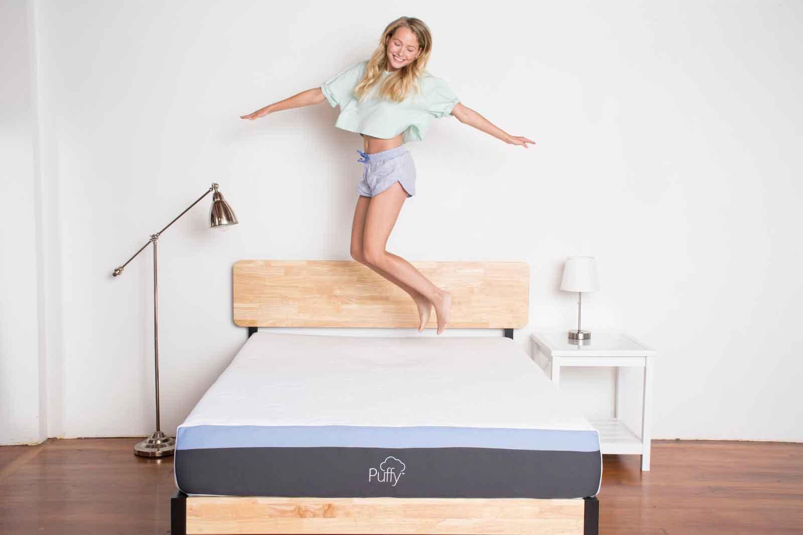 jumping on a puffy mattress
