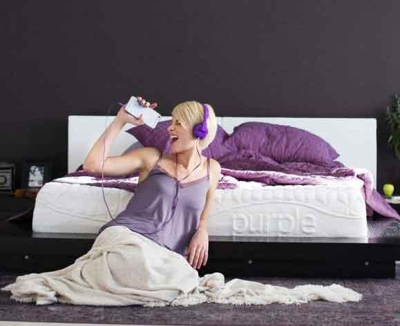 blonde girl headset purple wearing headphones