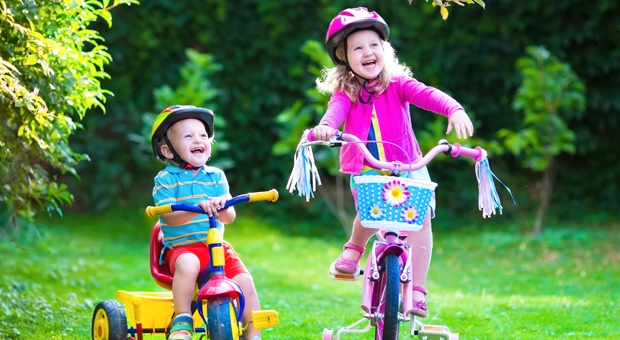 toddlers on bikes
