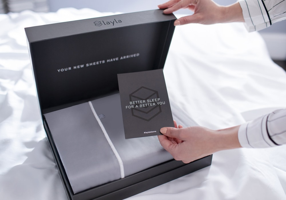 grey sheets in the box