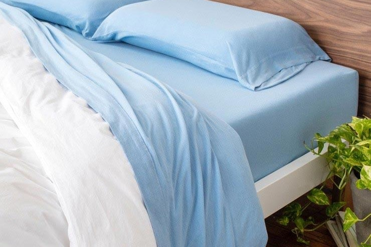 tuft needle jersey sheets blue