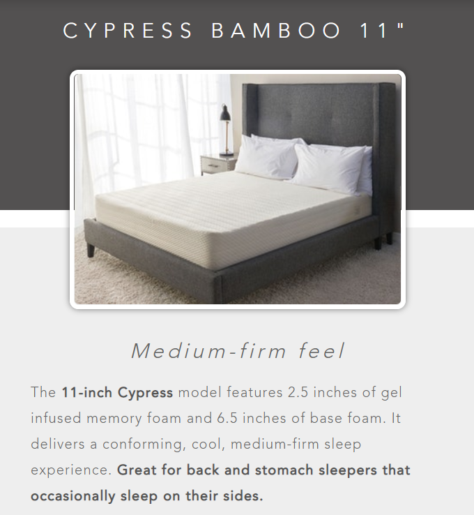 medium-firm firmness for cypress bed