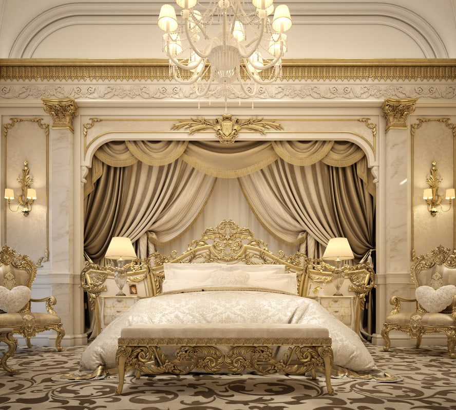 luxury bedroom gold