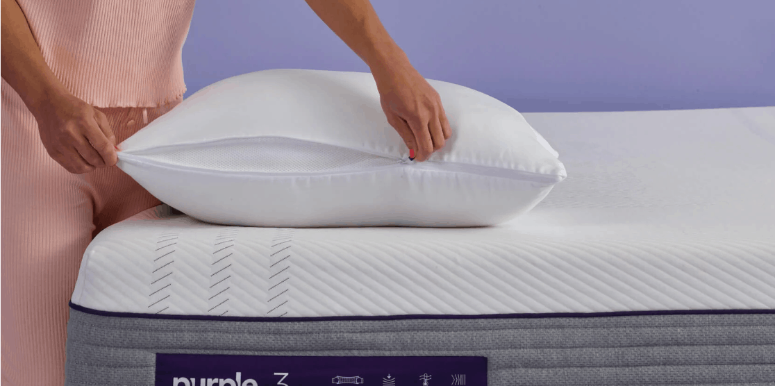 purple plush pillow zipper