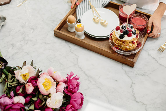 gorgeous flowers and breakfast in bed