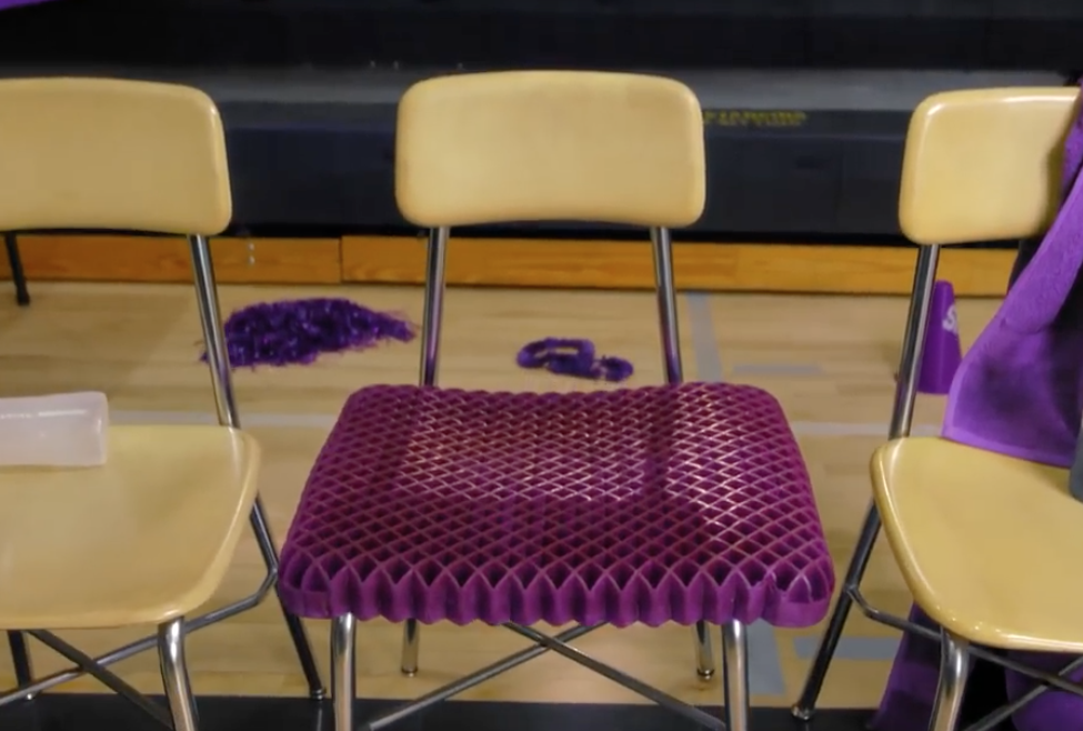 sit comfortably with the purple cusion