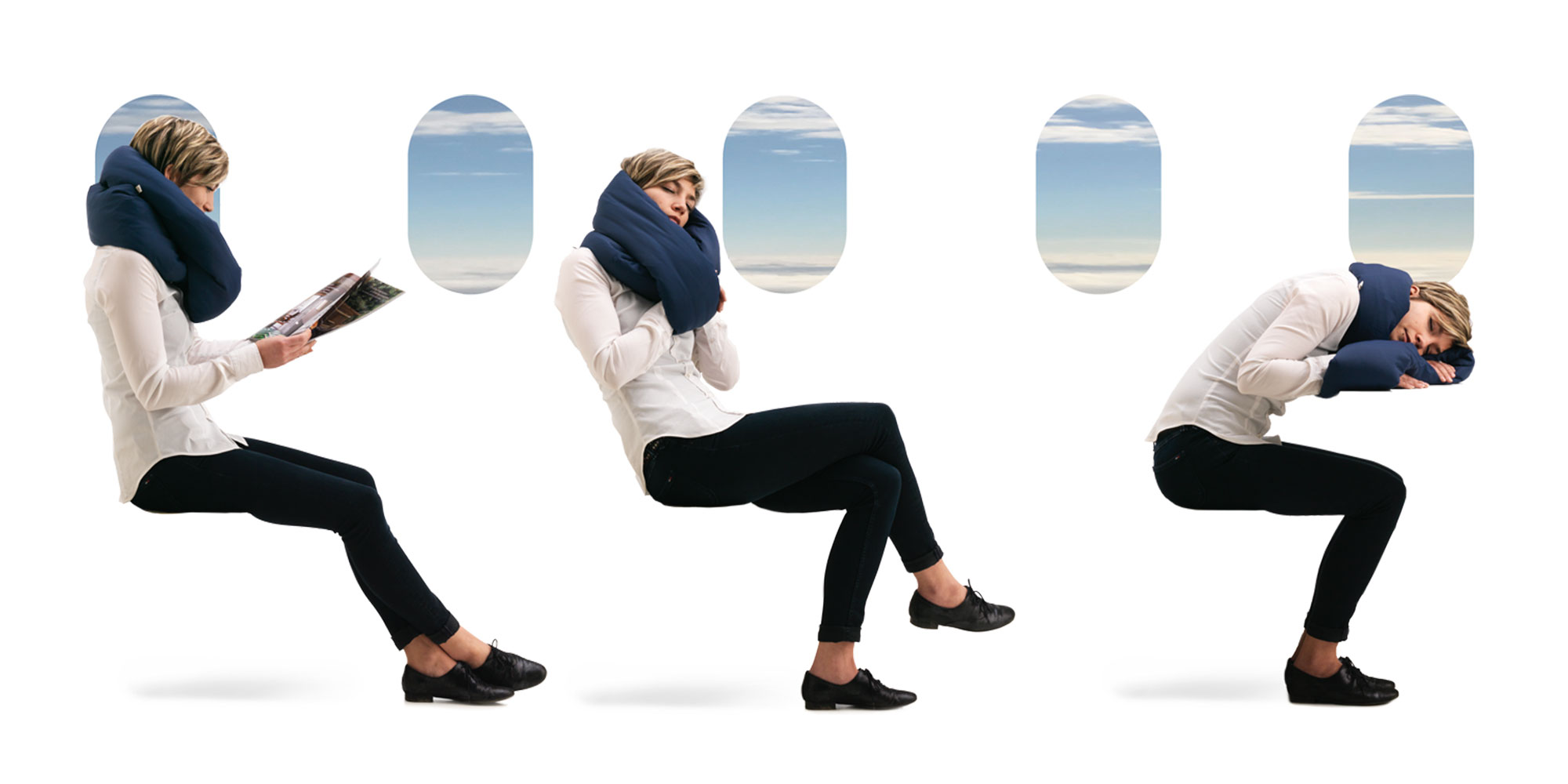 sleep positions on planes with infinity travel pillow