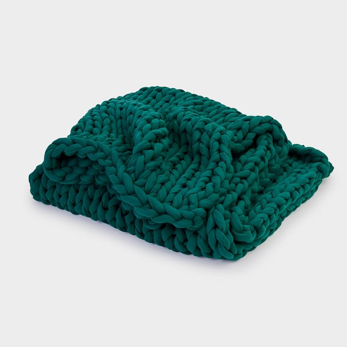 washable knitted weighted blanket by bearaby