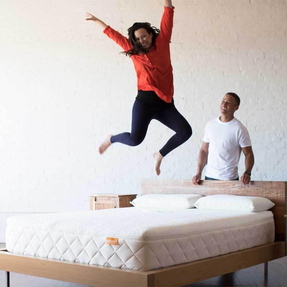 jumping on a mattress