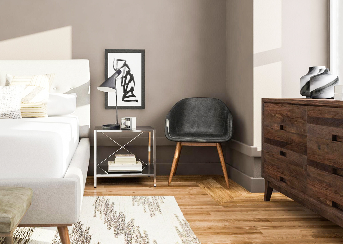 the mid-mod bedroom design on a budget