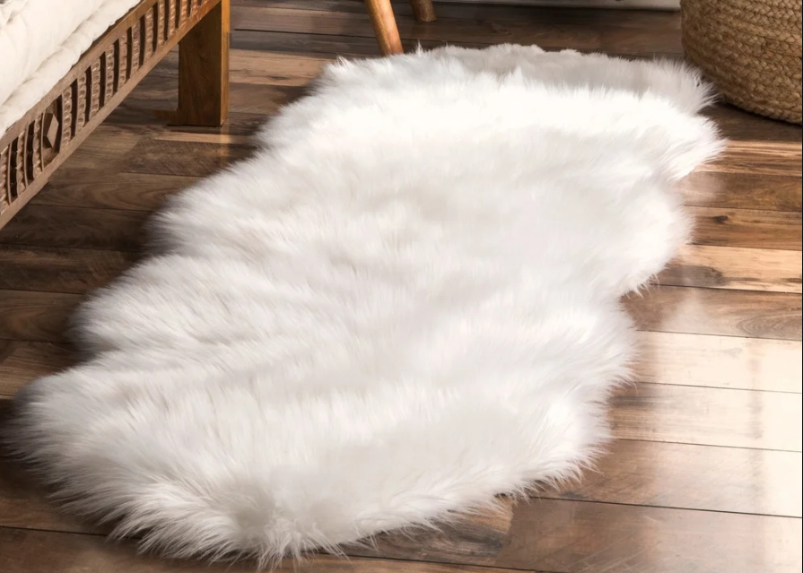 glam bedroom fluffy furry rug
