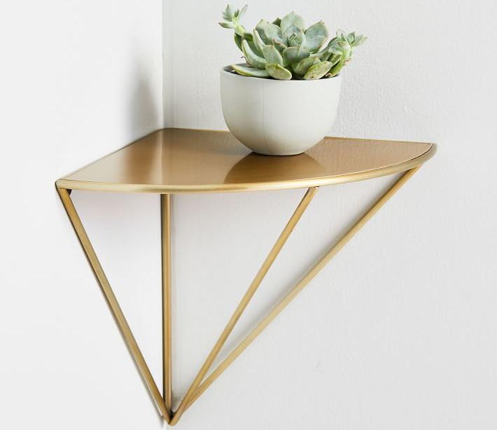small bedroom corner shelf