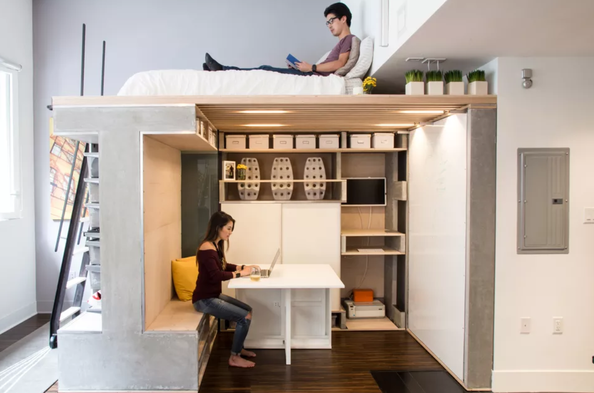 define and create space in a loft bedroom
