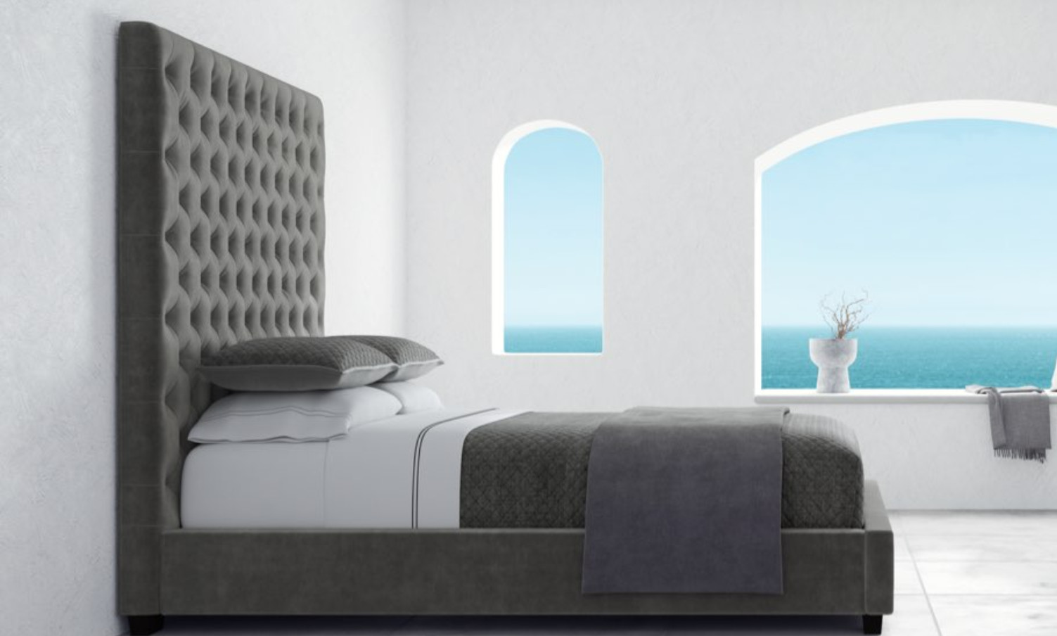 designer marbella bed frame in graphite