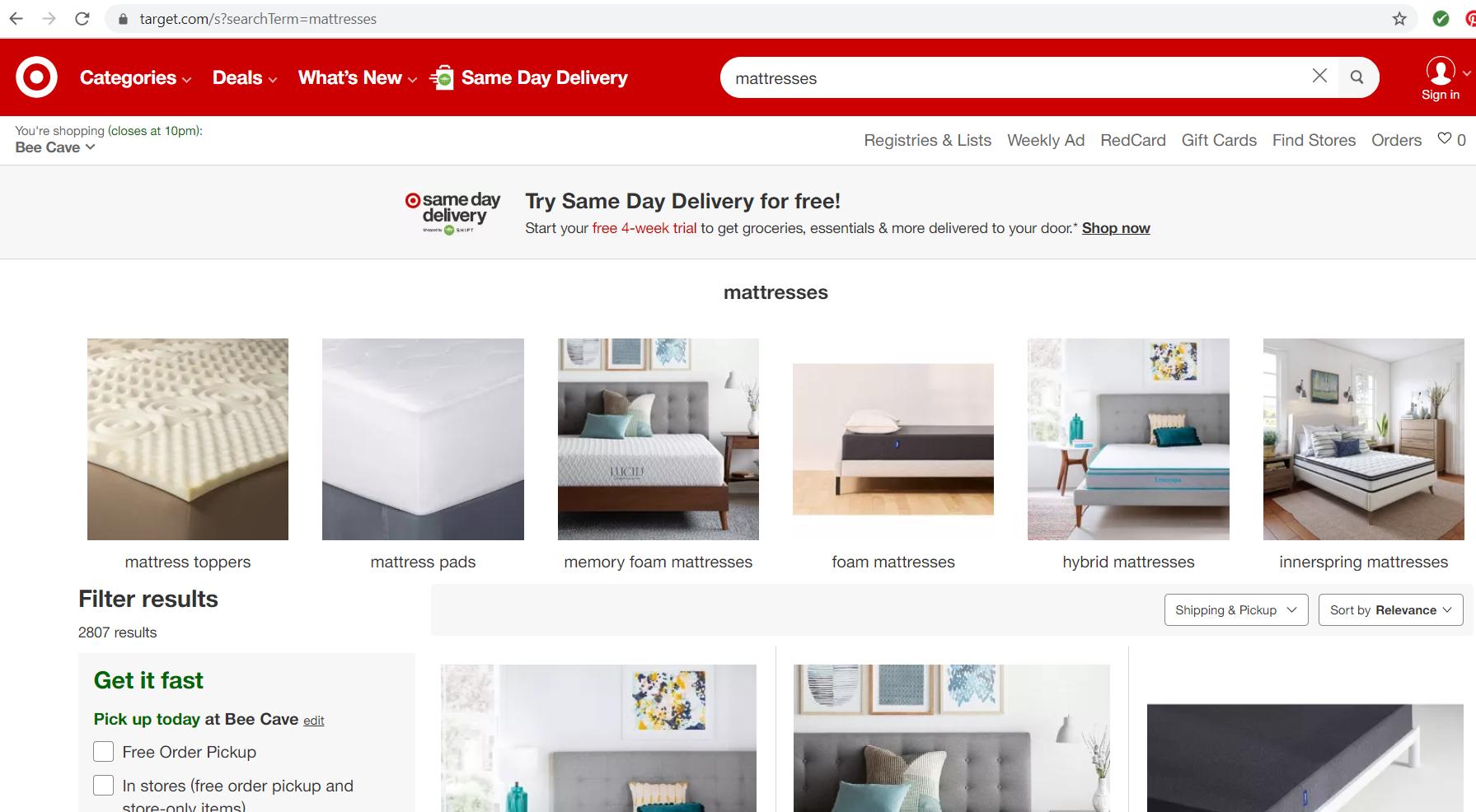 target mattress website