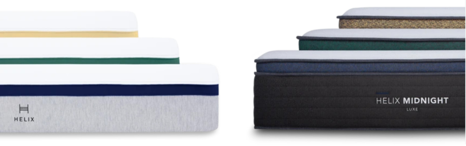 helix sleep original and luxe mattresses