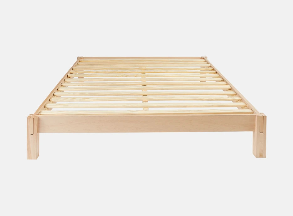 Natural wood bed frame logo image