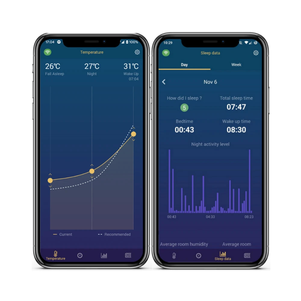 app with sleep tracking and heat and cooling controls