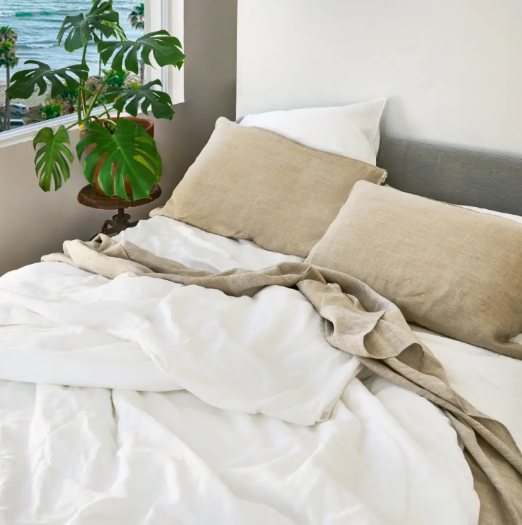 tan and off white bedding