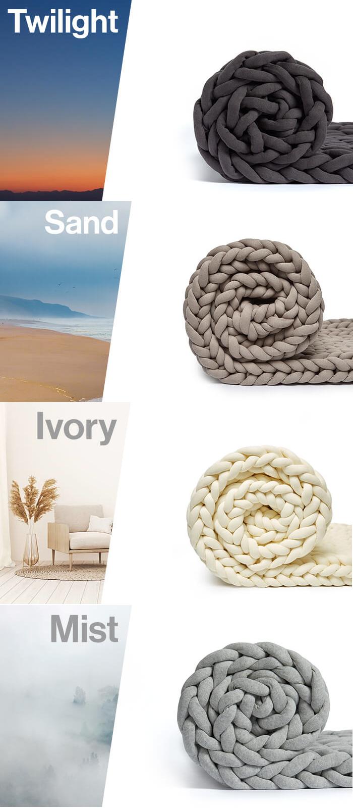 twilight, sand, ivory, mist color options